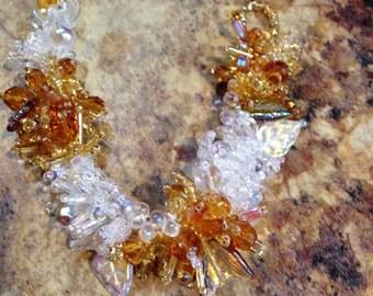 SALE 25% OFF! Golden Amber & Ice, Handwoven Beaded Bracelet