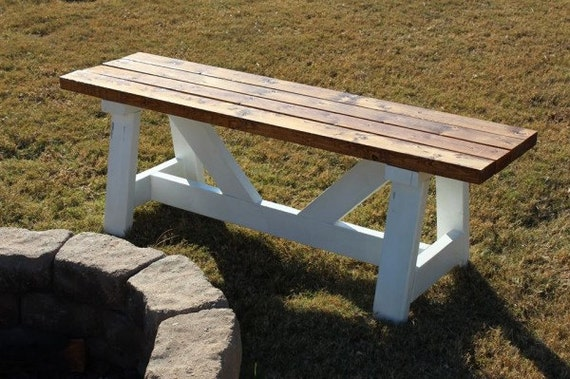 Outdoor bench sitting solid wood bench cross by mauricewoodworks Fire pit benches