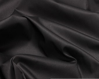 Fabric cotton elastane satin black noble