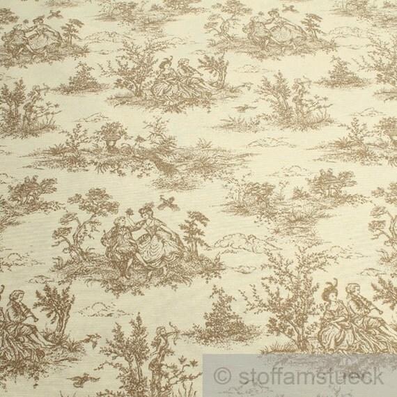 fabric cotton polyester ecru toile de jouy beige by. Black Bedroom Furniture Sets. Home Design Ideas
