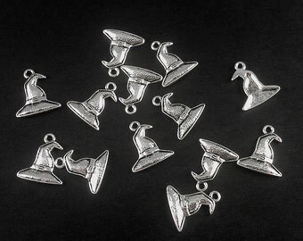 10, 25 or 50 Antique Silver Halloween Witch Wizard Hat Pendant Charm