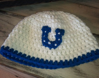 Colts crochet hat , photo prop , baby shower gift