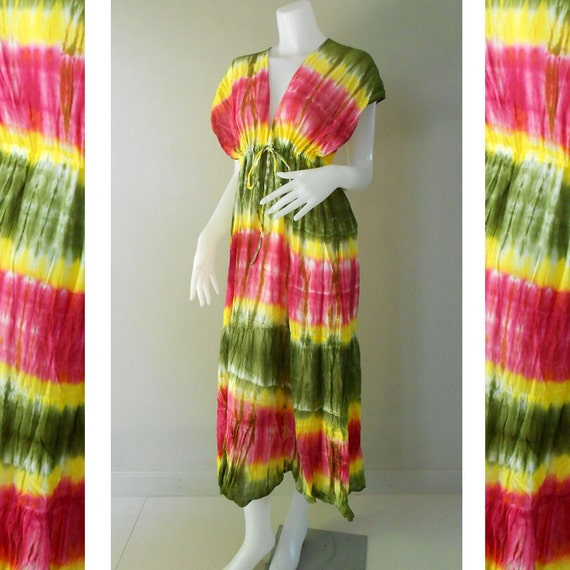 New Psychedelic  New Tropical 100 % Tie dye Beach Handmade Long Kimono Maxi Dress (TD 310)
