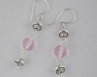 Silver and Pink Glass Dangle Earrings (E37)