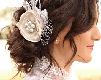 Bridal hair piece - flower & feathers