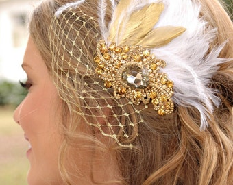 Bridal hair piece — feathers and netting