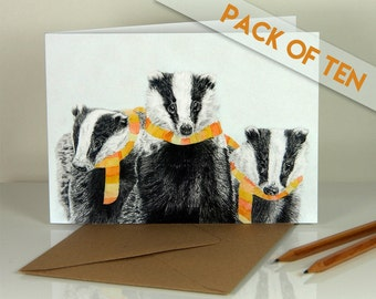Winter badgers. Blank greeting cards. Pack of ten.