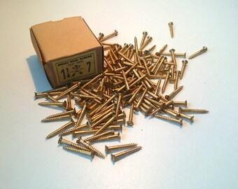"1 1/4"" x 7 Flat head Antique Brass Screws Arrow Brand made in Germany #5E8G4DK63"