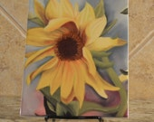 Ceramic Trivet - Sunflower from a pastel painting by JoAnne Tucker - Limited Edition