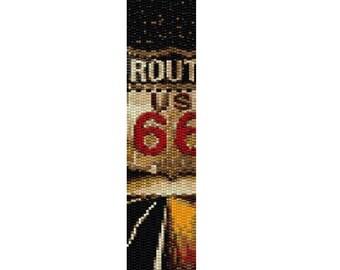 "Peyote Bracelet Pattern Route 66 ""Get Your Kicks"""