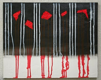 Abstract Acrylic Painting Modern Art Contemporary Art Mixed Media Red Painting Drip Painting Black Painting White Painting Foil