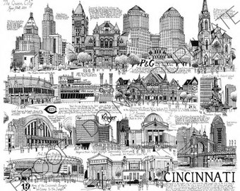 Cincinnati, Ohio Ink Cityscape Drawing