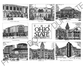The Ohio State University Ink Drawing Print
