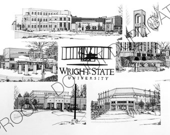 Wright State University Ink Drawing