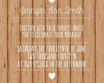 Rustic Wood Printable Wedding Invitation