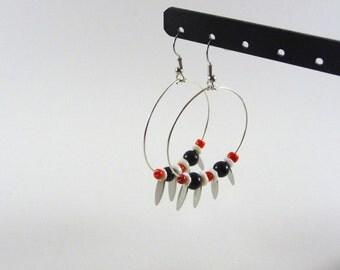 Biham - Black white and orange silver ring earrings