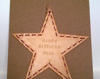 Personalised Birthday card. Hand made. Embossed and stitched.