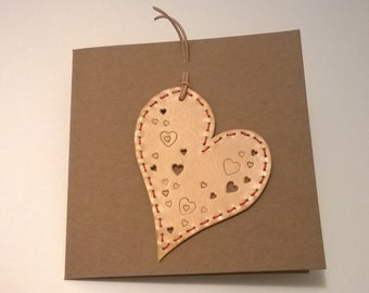 Handmade Leather Card. Hand embossed and punched. Blank card.