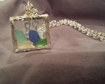 Sea glass shadow box pendant...