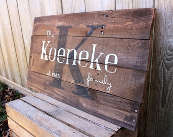 Rustic Large Family Name and est. date monogram 26x16 personalized reclaimed wood sign established anniversary wedding guest book