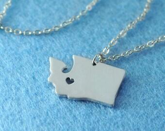Washington Pendant,I heart Washington Necklace,Custom Washington Necklace, State Map Jewelry, Personalized Silver Pendant ,Map Jewelry