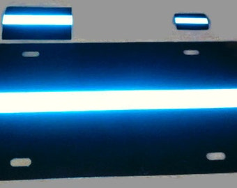 Thin Blue Line Reflective Plastic License Plate with a 2x3 inch and 1x1.5 inch decal