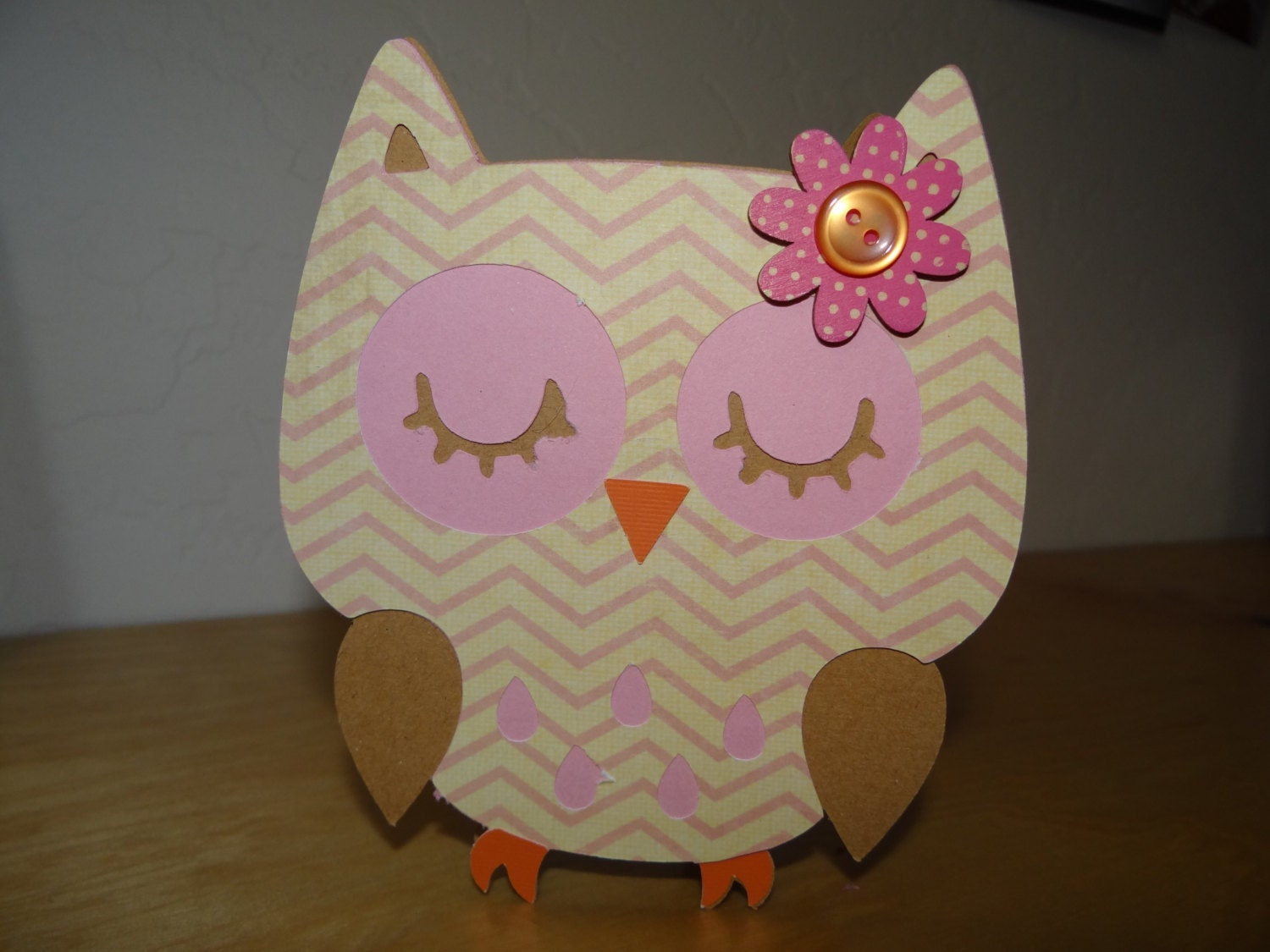 Items similar to Handmade shaped owl greeting card with envelope on Etsy