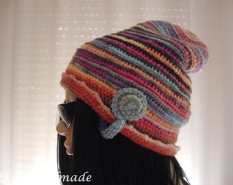 Crochet i-cord Beanie Double Sided