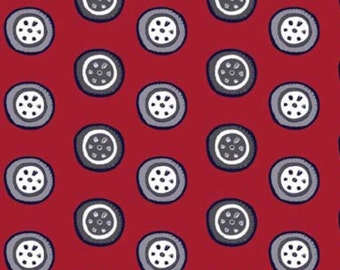SALE 1 Yard- Speedster by The RBD Designers for Riley Blake Designs- 3906-Red Sporty Tires