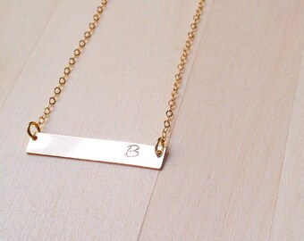 14k Gold Filled, 14k Rose Gold Filled, or Sterling Silver Customized Metal Stamped Necklace