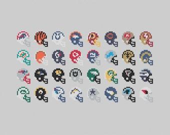 Football Helmets - Cross Stitch Pattern PDF Download