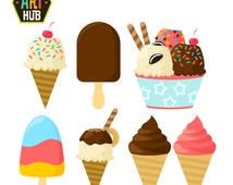 Yummy Ice Cream Clip Art, Sweets Clip Art, Cold Frozen Dessert Printables, Food Porn Clip Art, Digital Art, Royalty Free