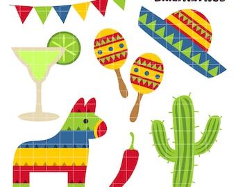 Cinco De Mayo 2 Clip Art, Mexican Festival Clip Art, Battle of Puebla Printables, Banderita Clip Art, Digital Art, Royalty Free