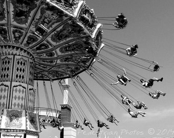 Milwaukee State Fair Swing Ride, Fine Art Photograph, Black and White, Home Decor