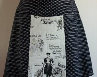 Nostalgic bikes skirt, A-line skirt, black, dots, size EU 38/40 (USA 8/10, UK 10/12), cotton, zipper
