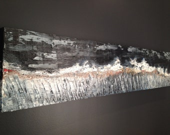 Oil on canvas: uncertain times (10 x 42, 1 inch and a half)