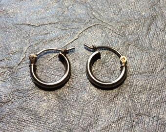 Tiny Antiqued Sterling Silver Hoop Earrings