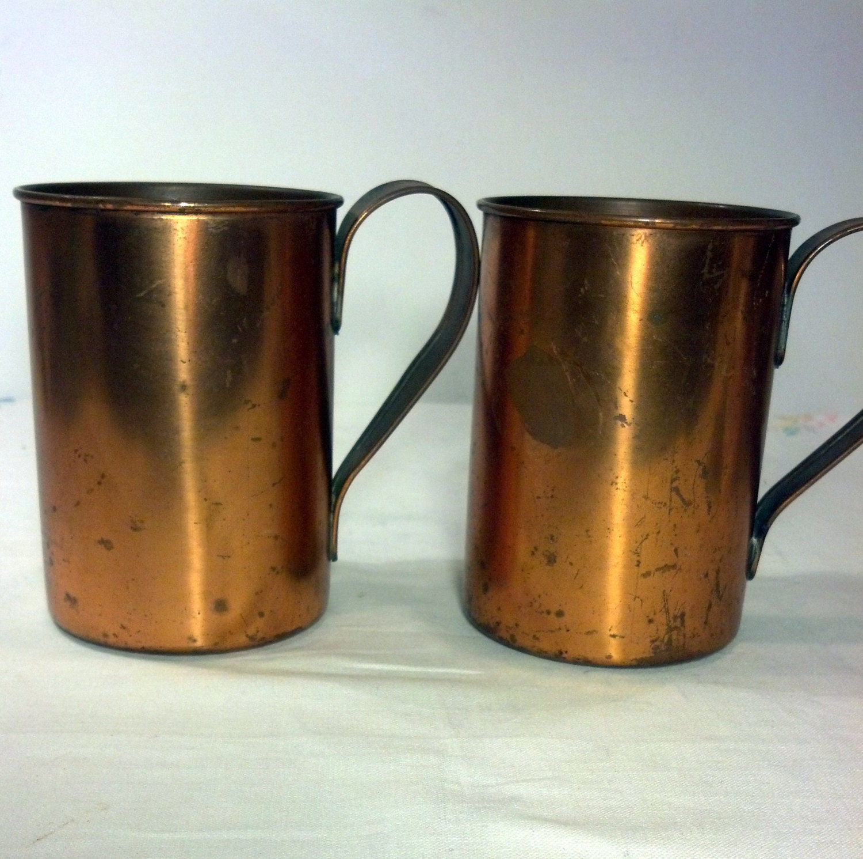 rustic copper mugs vintage copper cups by blindedbydelight on etsy. Black Bedroom Furniture Sets. Home Design Ideas