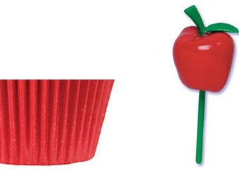 Apple Picks with Red Baking Cups