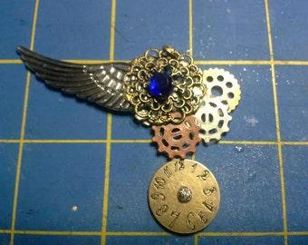 Winged steam punk pendant