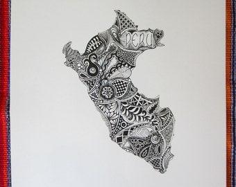 Peru Outline Art Print