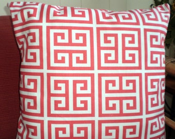 Coral Throw Pillow Covers, Cushion Covers, Greek Key Pillow, Couch Pillows, Decorative Pillow, Bed Pillows, Towers, One or More All Sizes