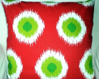 Red Green Christmas Pillow Covers, Decorative Throw Pillows, Cushion Covers, Holiday Pillows, Red Green White Ikat,  One or More All Sizes