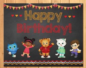 Daniel Tiger Birthday Sign Chalkboard * Daniel Tiger Birthday * Daniel Tiger Sign * Daniel Tiger Favors * Daniel Tiger Party