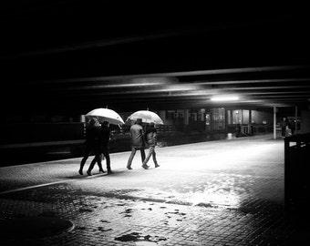 Rain photography, London photograph, umbrella photo, street photography, night photography, urban photography, black and white print