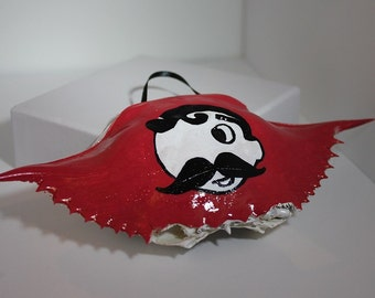 Crab Shell Ornament: Hand Painted Natty Boh