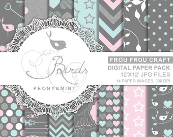 12x12 inches Hearts Birds Peony and Mint Digital Paper Pack Instant Download Pattern Chevron Floral Flower Polka Dots Star Heart Frame Pink