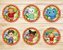 Daniel Tiger Cupcake Toppers Stickers Orange  // Daniel Tiger Cupcake Topper