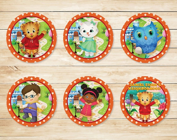 Daniel Tiger Cupcake Toppers Stickers Orange Polka Dot // Daniel Tiger Cupcake Topper