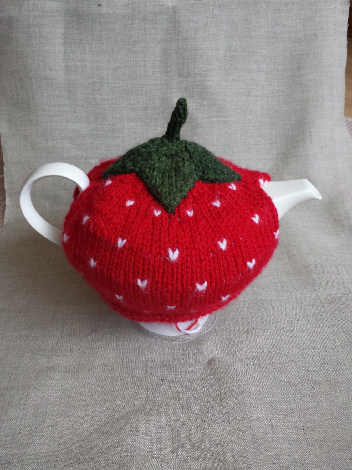 Knitting Pattern For Strawberry Tea Cosy : Hand Knitted Strawberry Tea Cosy